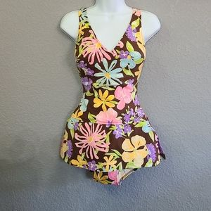 Beautiful VTG 60s Floral One Piece